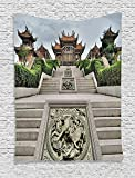 Supersoft Fleece Throw Blanket Home Collection Traditional Chinese Temple with Mythical Double Dragon Carving Buddha Oriental Zen Garden Photo Multi