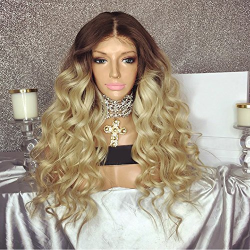 Auburn Peggy Sue Wig (Wicca Brazilian Remy Hair Blonde Lace Front Wig Middle Part Brown and Blonde Ombre Wig Loose Wave Full Lace Wig for Women Bleached Knots 150% (150% 20inch, Full lace wig))