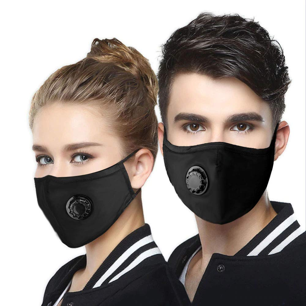 N95 Dust Mask 2 Pack - Washable Cotton Respirator Mouth Masks Activated Carbon Filtration Multi-Layer Protection from Pollution Pollen Allergy PM2.5 Face Mask for Men Women Kids with 4 Filter by heartybay