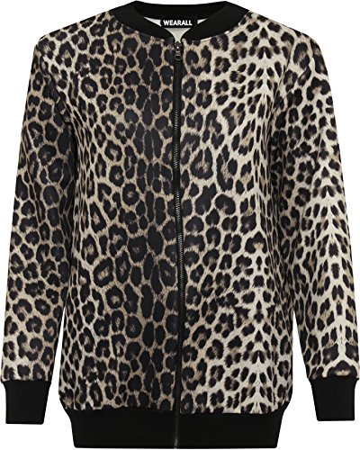 WEARALL Women's Plus Leopard Print Bomber Jacket - Black - US 16 (UK (Leopard Bomber)
