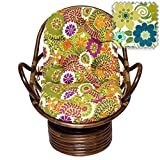 Bali Rattan Papasan Swivel Rocker with Cushion - Print Outdoor Fabric, Rolling Mead - DCG Stores Exclusive