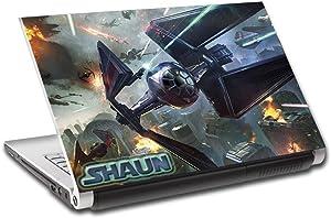 "Star Wars Battle Ships Personalized LAPTOP Skin Vinyl Decal Sticker NAME L146, 15.6"""