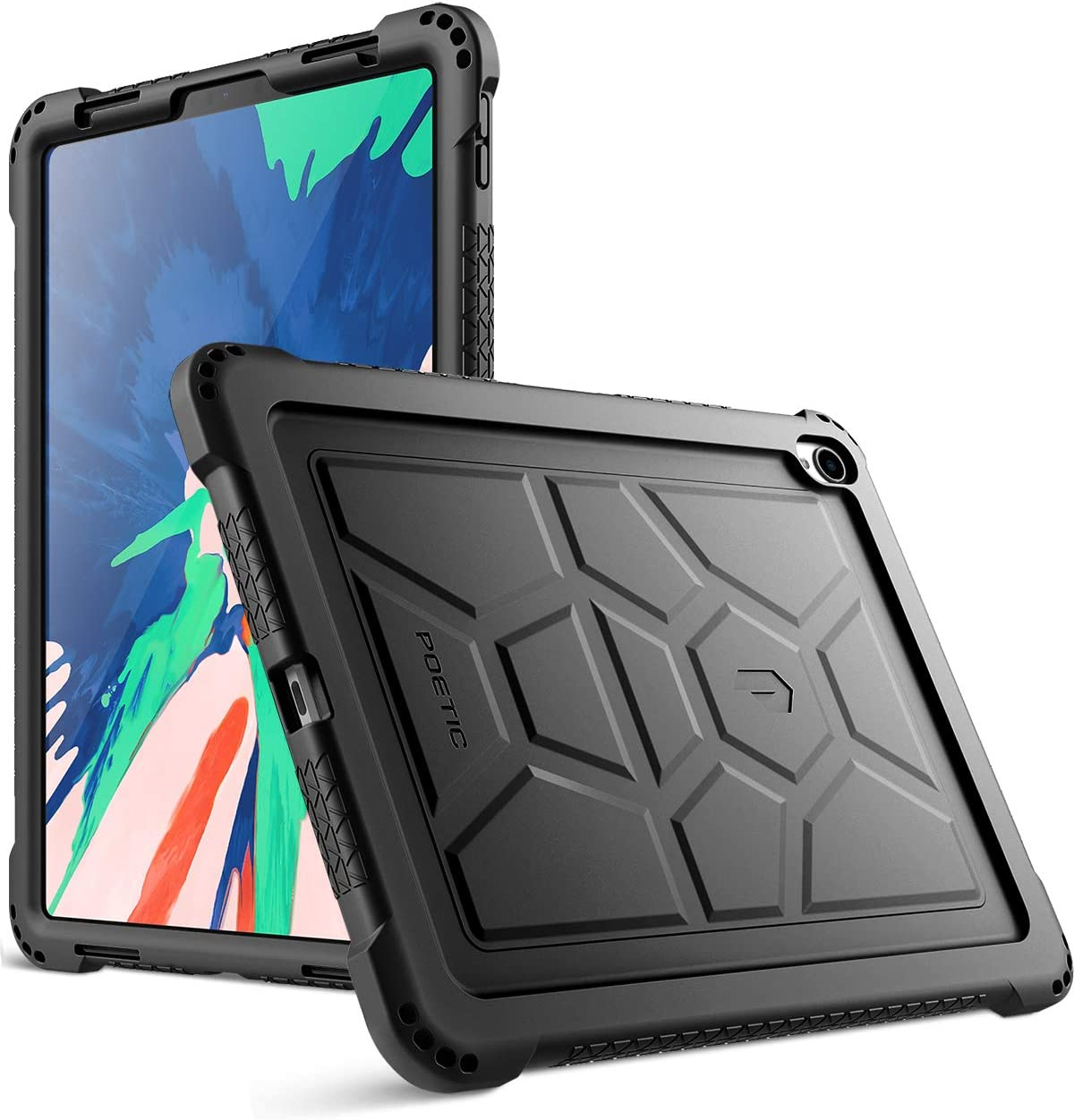 iPad Pro 11 inch Case, Poetic TurtleSkin Series [Corner Protection][Grip][Not Supported Apple Pencil Magnetic Attachment] Protective Silicone Case for Apple iPad Pro 11 Inch (2018) - Black