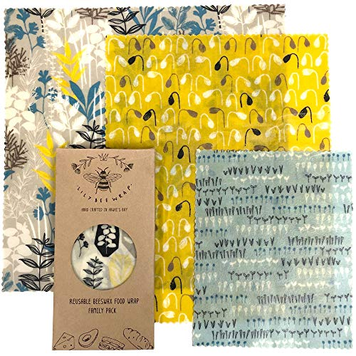 Lilybee Beeswax Wrap Reusable Food Wraps | 3 Pack Sustainable Zero Waste Bees Wax Food Wrappers | Biodegradable & Plastic Free Clingwrap Alternative(Garden Party, 3 Pack).