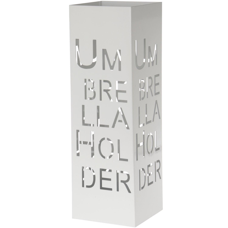 DonRegaloWeb - Portaombrelli quadrato in metallo traforato, colore bianco, 15,5x 15,5x 49cm