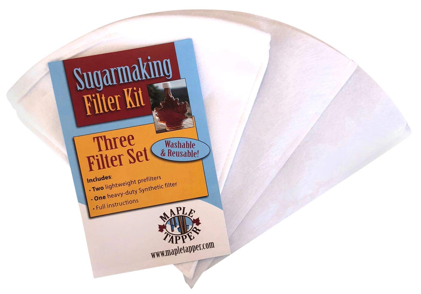 Maple Tapper 3 Pc. Maple Syrup 1 Qt. Filter Set - REUSABLE Premium Synthetic Filters – One (1) Heavy Duty Boiling Filter and Two (2) Pre Filters for Sap Collection - Maple Sugaring Instruction Card