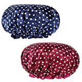 Rovtop 2 Pieces Double-layer Bath Cap,Top Diameter Approx 10.6 Inches with Polka Dot Pattern for Women Shower Spa