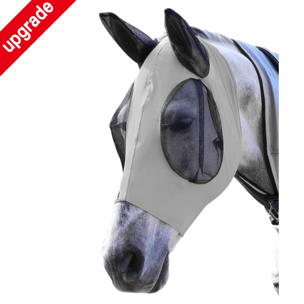 Horse Fly Mask, Fly Mask with Nose and Ears - Mesh Mask Effectively Protects The Horse from Sandstorms, Avoids Direct Light While Allowing Full Visibility (Grey) by indreamy