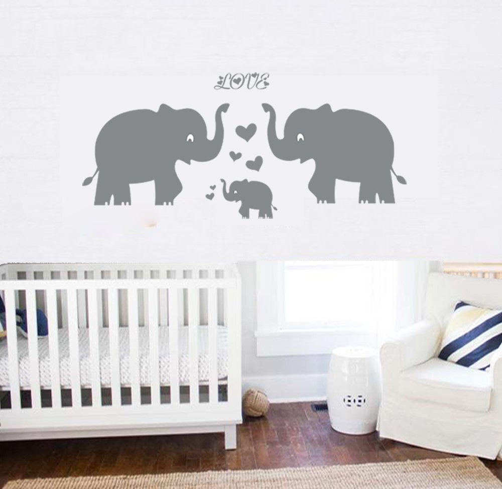 Elephant Wall Decal Family Wall Decal With Hearts and Butterfly Wall Decals Baby Nursery Decor Kids Room Wall Stickers, Grey