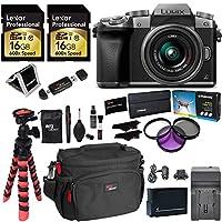 Panasonic LUMIX DMC-G7KS DSLM 4K Camera (Silver), 14-42 mm Lens Kit, 16GB 2 Pack, Ritz Gear Tripod, Camera Bag, Cleaning Kit, Card Reader, Filter Kit, Battery, Charger and Accessory Bundle