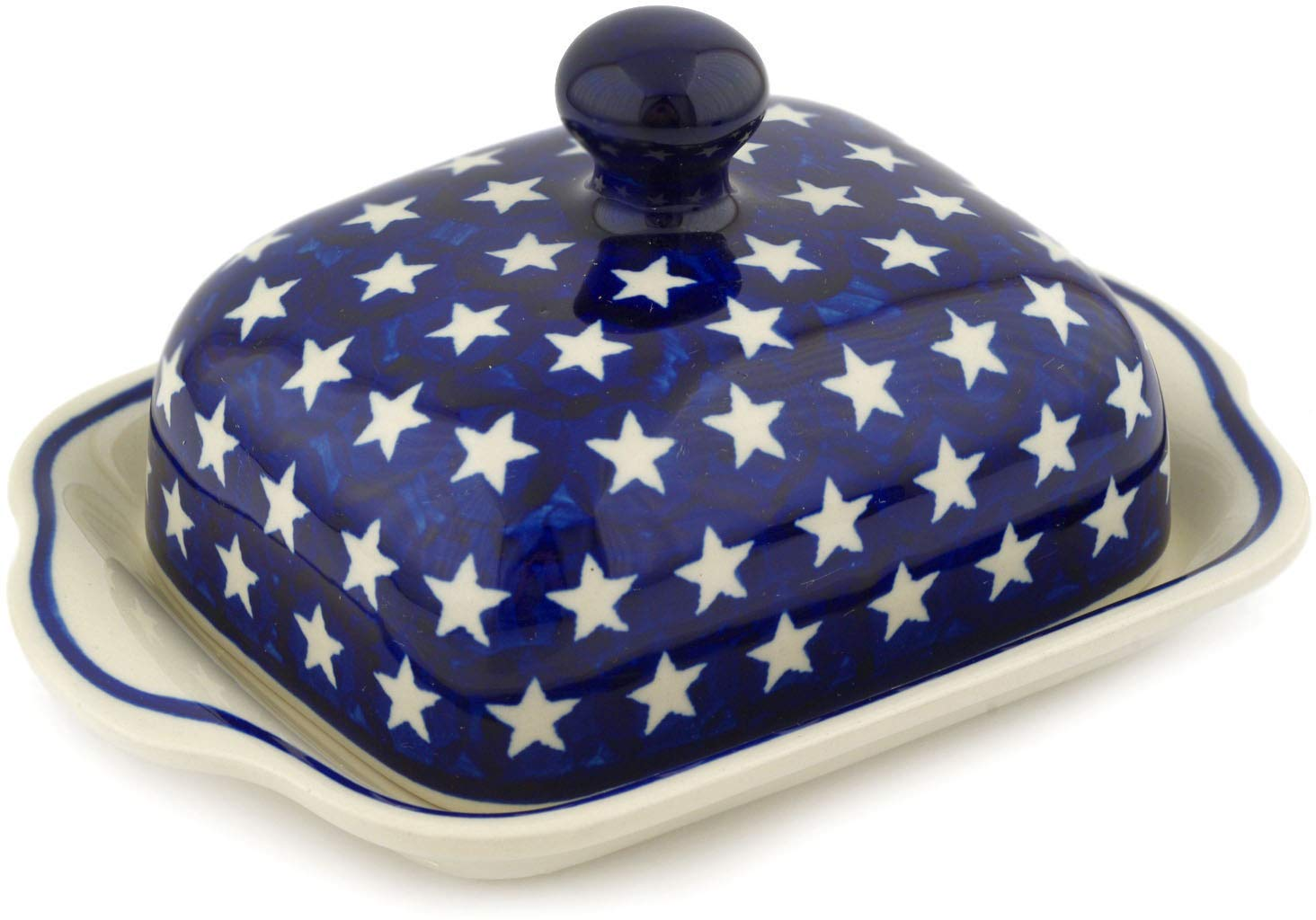 Polish Pottery 7¾-inch Butter Dish (America The Beautiful Theme) + Certificate of Authenticity