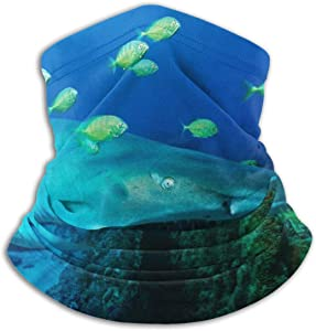 YUIOP Sand Tiger Shark Green Seafish Neck Gaiter Warmer Windproof Face Mask Scarf Magic Balaclava Outdoor Sports
