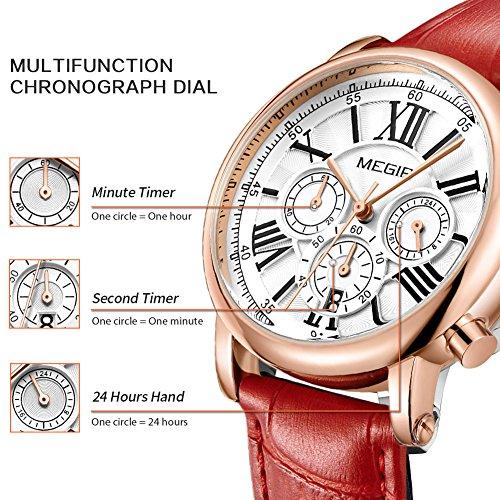 MEGIR Watches for Women Quartz Sport Chronograph Red Leather Strap Stylish Dress Wrist Watch by MEGIR (Image #7)