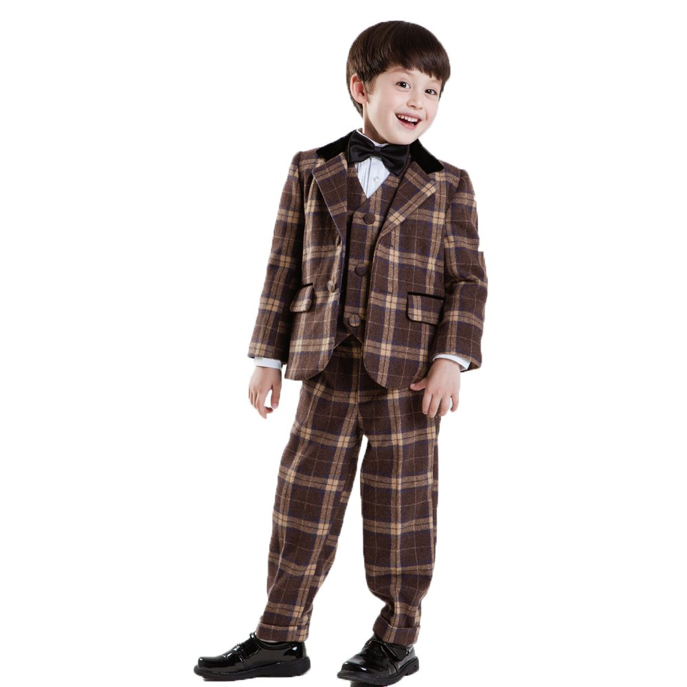 CoCosion Boy's Plaid 5-pieces Winter Suit Set