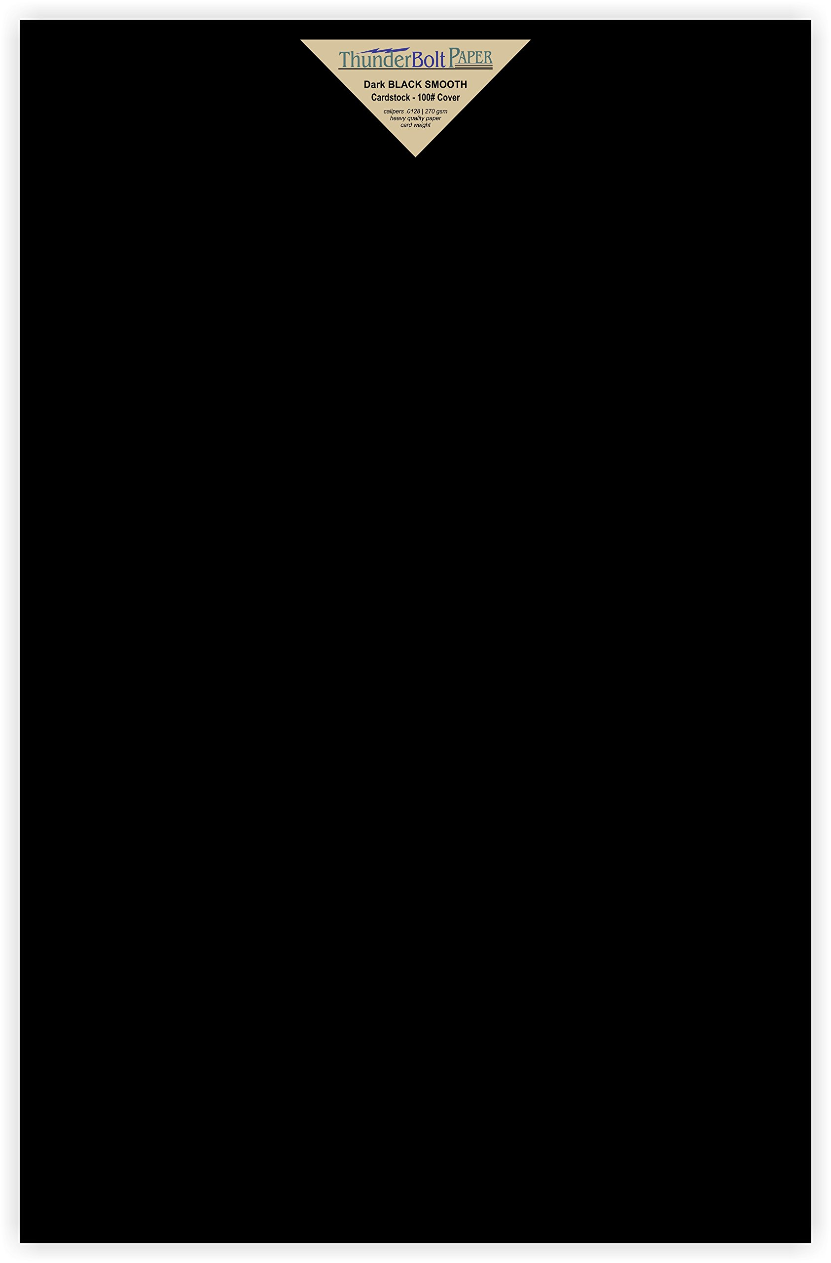 20 Dark Black Smooth Card Sheets - 100# - 11'' X 17'' (11X17 Inches) Tabloid|Ledger|Booklet Size - 100 lb/pound Cover Weight Fine Paper for Quality Results on a Smooth Finish