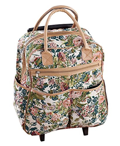 Floral Tapestry Rolling Travel Bag