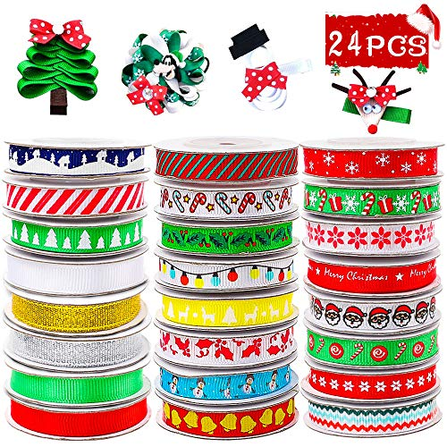 Christmas Ribbons 120 Yards 3/8'' Grosgrain Satin Ribbons Trims Printed for Christmas Holiday Gift Box Wrapping, Hair Bow Clips, Gift Bows, Craft, Sewing, Wedding (24 Styles x 5yds Packed in Roll) Colored Satin Ribbon Trim