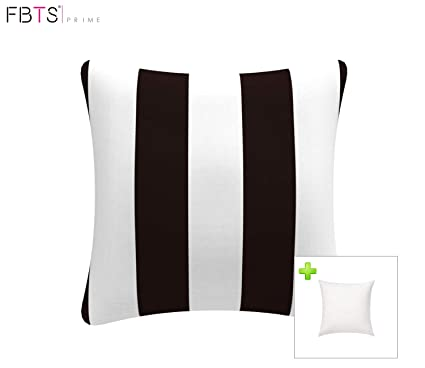 a3ca1243db7 FBTS Prime Outdoor Decorative Pillows with Insert Black and White Stripe  Patio Accent Pillows Throw Covers