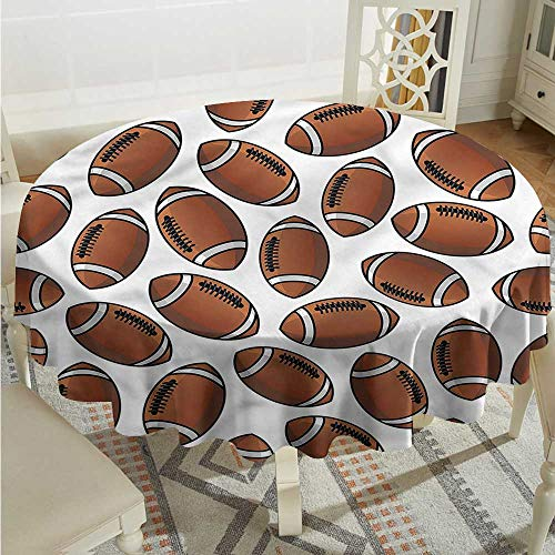 Tim1Beve Sports Resistant Table Cover Rugby Balls Cartoon Pattern Table Cover for Dining D60 INCH