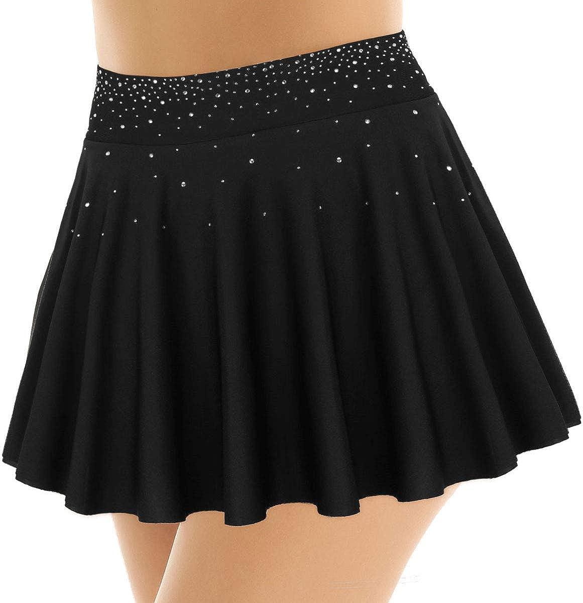inlzdz Womens Shiny Rhinestone Short Pleated Skirt Gymnastics Ballet Dance Figure Ice Skating Skirt with Built-in Briefs