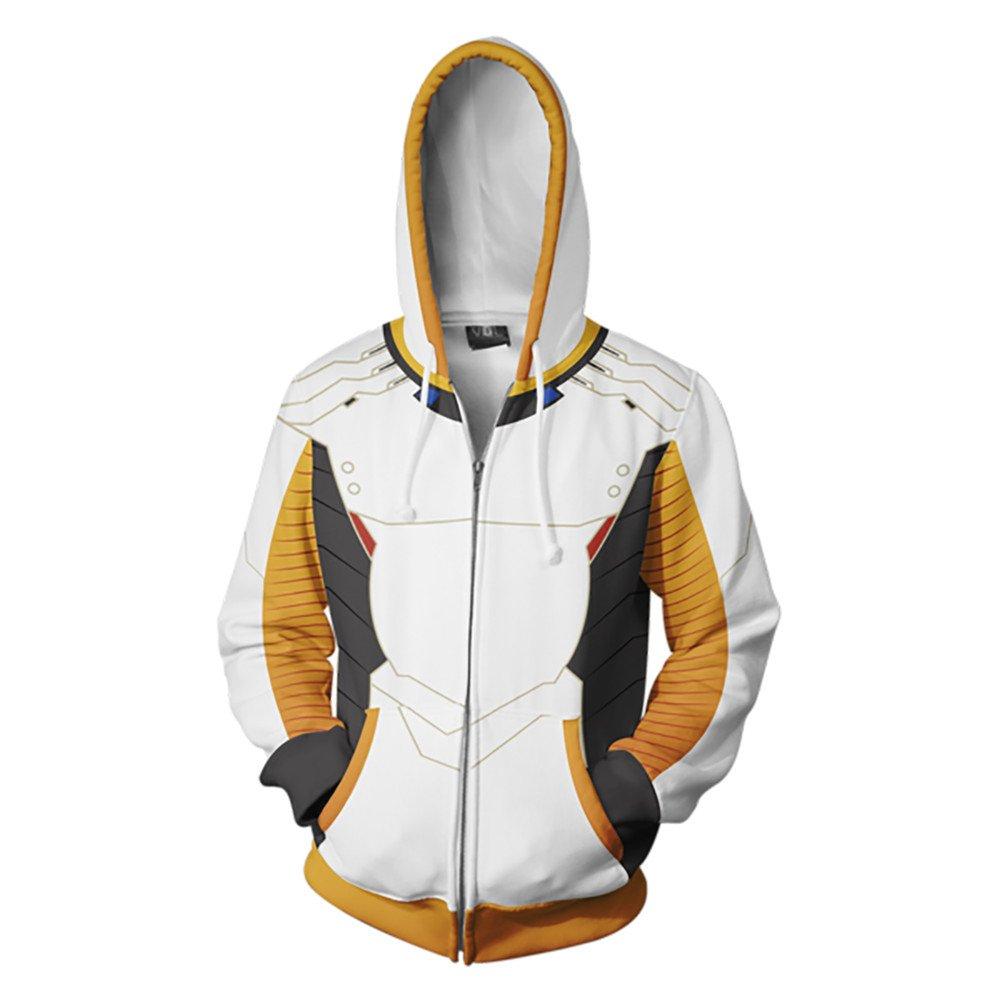VOSTE Soldier 76 Blue Hoodie Angel Cosplay Costume 3D Printed Jacket (Large, Color 2)