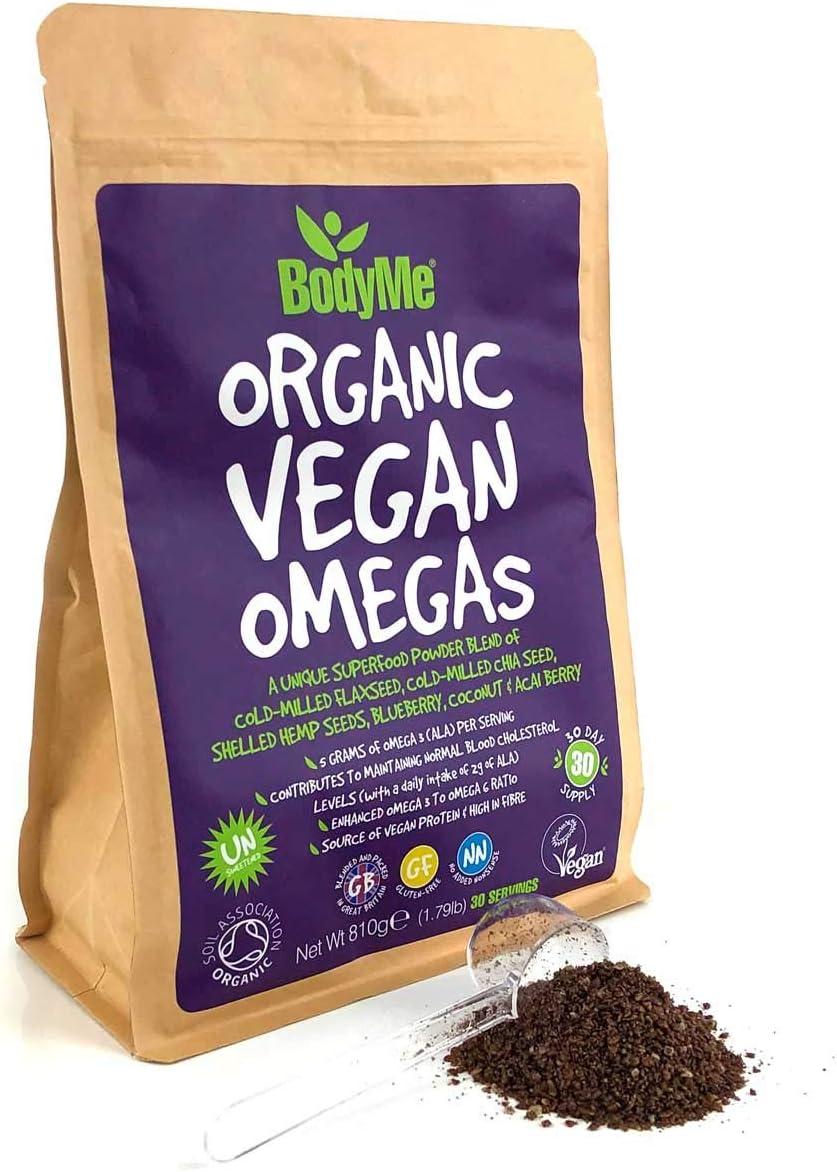 BodyMe Orgánico Vegano Omegas Polvo | 810g | Vegan Omega 3 6 9 Mezcla | Con Semilla De Lino Molida Semilla De Chía Molida Semillas De Cáñamo Arándano Coco Arándano: Amazon.es: Salud y cuidado personal