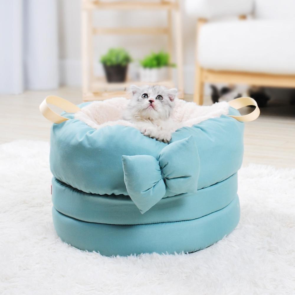 F Kaxima Pet Bed for Pet Litter Kennel cat nest pet Sleeping Bag Plush Butterfly Knot 40cmx 40cmx 28cm
