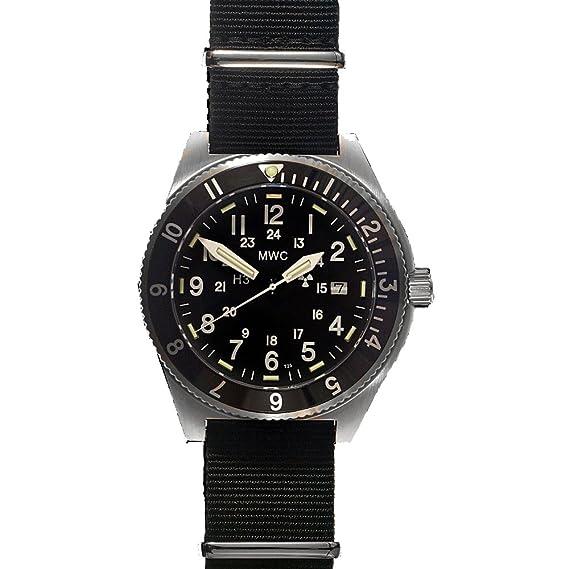 MWC Navigator Swiss Cuarzo Acero Inoxidable Negro GMT Tritium 300m Fecha Tela NATO Militar Pilot Hombre Reloj: Amazon.es: Relojes