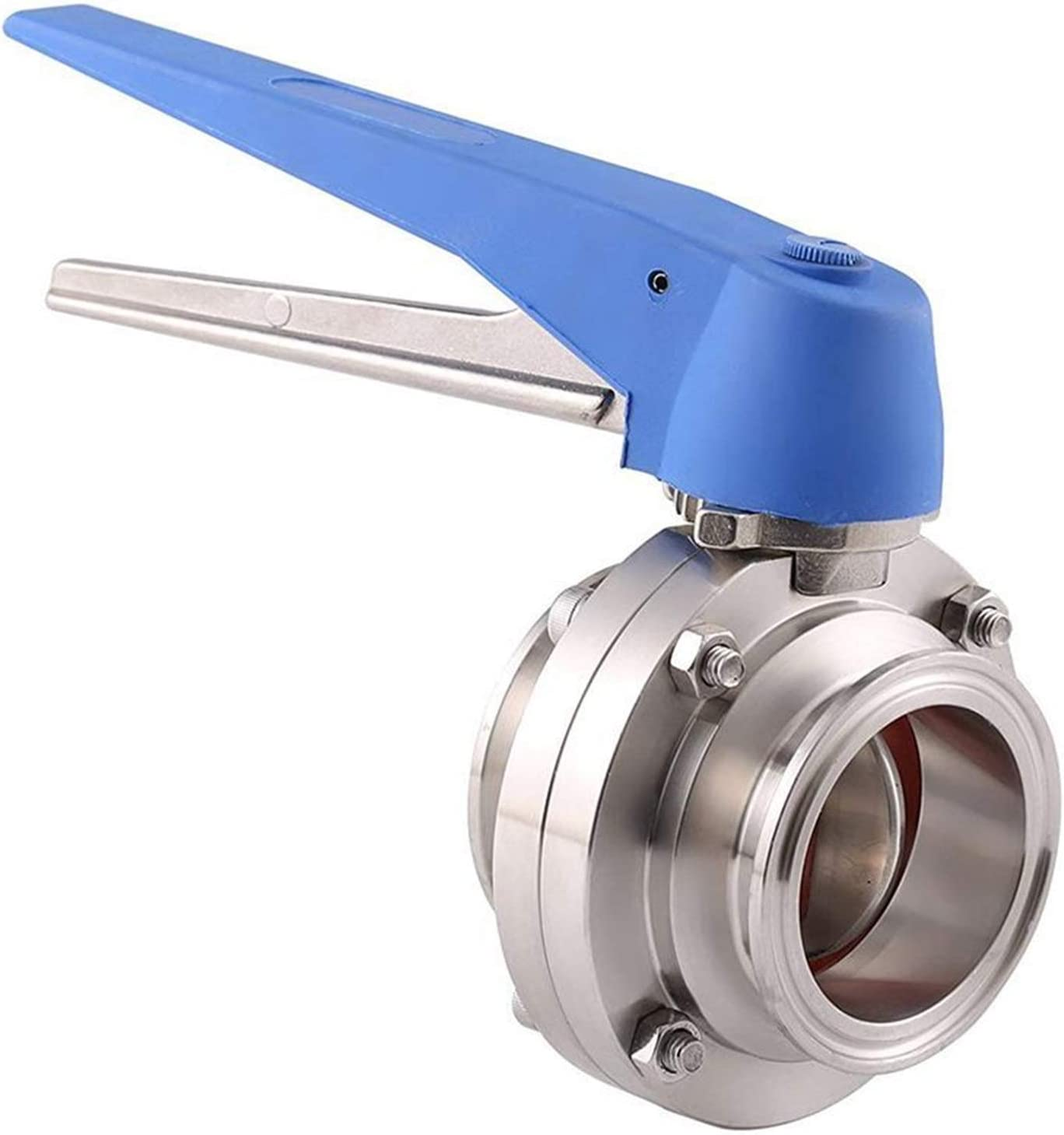 YANGDONG Sanitary 304 Stainless Steel 1.5 Inch Tri Clamp Butterfly Valve Squeeze Trigger 1-1//2 Inch 38mm