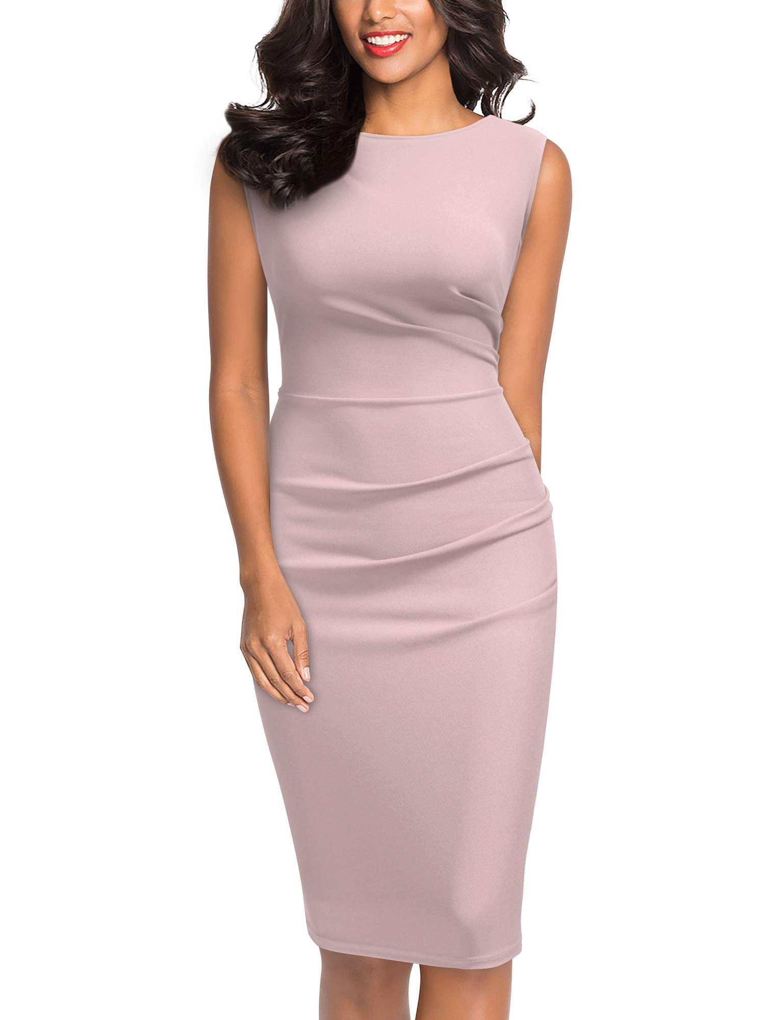 Miusol Women's Retro Ruffle Style Slim Work Pencil Dress