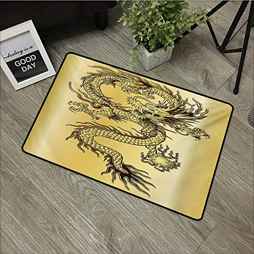 16' Round Snake - Moses Whitehead Fabric Door Mat Rug Dragon,Chinese Snake Dragon Theme Background Eastern Mythology Oriental Abstract Art,Mustard Black,with Non Slip Backing,16