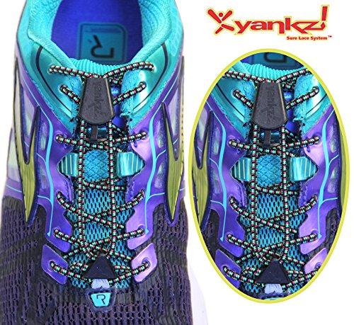 Cordones De Zapato Elástico Redondos De Encaje Yankz Sure Multi Black Con Negro