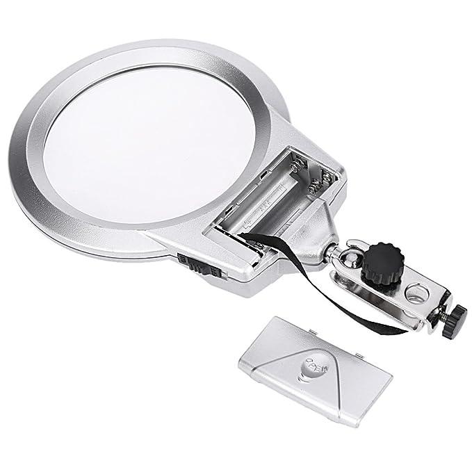 KKmoon Multifuncional Lupa 2X / 6X Aumento con luz LED de cocodrilo clip del sostenedor de herramienta de la reparación de la abrazadera de soldadura: ...