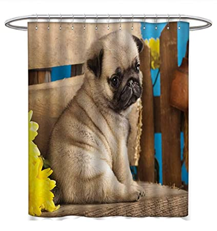 Amazon Com Anhuthree Pug Shower Curtains Digital Printing