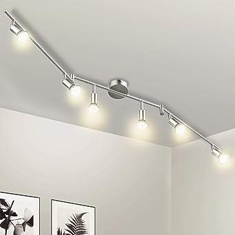 Beau Deckenstrahler LED 6 Flammig Wowatt Deckenlampe Küche Deckenleuchte Inkl.  6x 5W Spots GU10 420lm Schwenkbar Wohnzimmer Flur Schlafzimmer Warmweiß ...