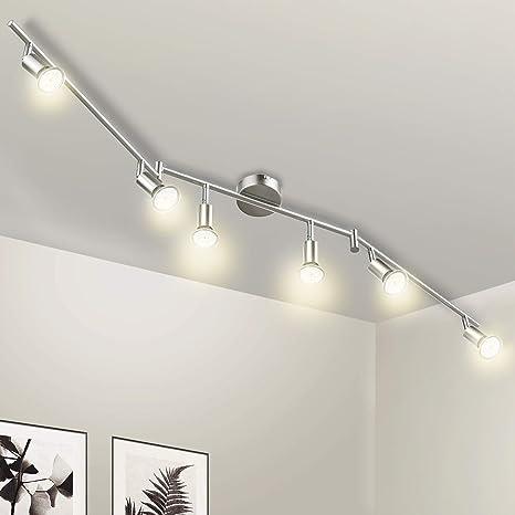 Wowatt Lámpara de techo LED Plafón con Focos Giratorios Lámpara de salón 6x Spot Bombillas GU10 Bajo consumo 5W 230V 2800K Blanco cálido 420lm 82Ra ...