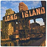 3dRose LLC 8 x 8 x 0.25 Inches Mouse Pad, Long Island Sign At Gantry Park, Buildings in, on East River. (mp_98338_1)