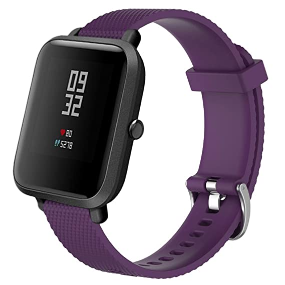 10 Colors Watch Strap for Smart Watch, 20MM Replacement Soft Silicagel Sports Watch Band Strap For Xiaomi Amazfit Bip Youth Watch (Purple)