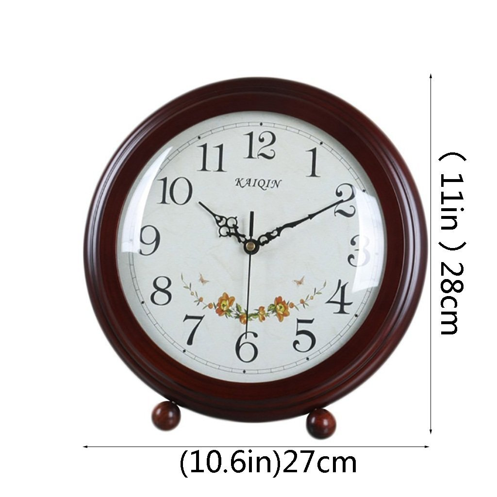 HAOFAY Desktop Clock, Vintage European Personality Brown Bedside Battery Powered Quartz Clock by HAOFAY (Image #3)