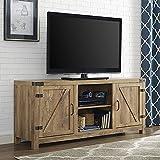 58″ Barn Door TV Stand with Side Doors , Barnwood For Sale
