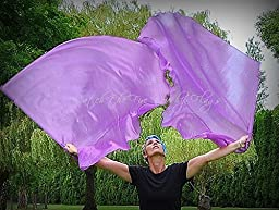 PURPLE Shimmer Angel Wing Catch the Fire Worship Flags (single layer pair)