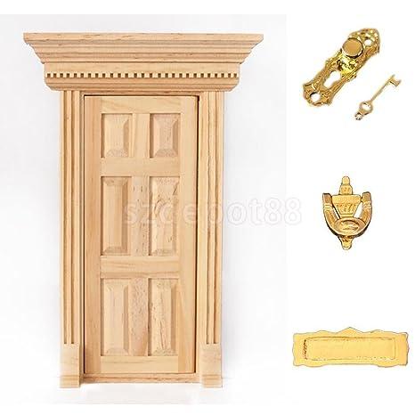 Amazon Natural Outward Open 6 Panel Wood Front Door W Hardware