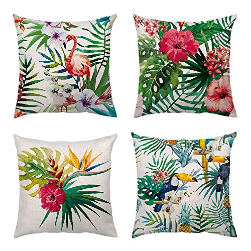 Shenermay 4 Packs Tropical Flower Leaves Throw Pillow Cover Flamingo Decorative Pillows Square Cushion Covers Sofa Cotton Linen Home Decor 18 X 18 Inch (Pillow Tropical Throw Covers)