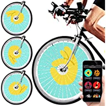 SWAGLIGHT Bike Spoke Lights w/ Mobile App & Theft Alarm - Bicycle Spoke Safety Light, Ultra-Vivid LED Bulbs, 16 Million Colors; Display Custom Images & GIFs using your iPhone or Android