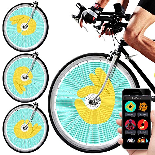 Swagtron SWAGLIGHT Duo Bluetooth Spoke Lights w/App & Trip Tracker -Vivid 128 LEDs & 16 Million Colors; Displays GIFS & Images (Customize Your Own Bmx Bike For Cheap)