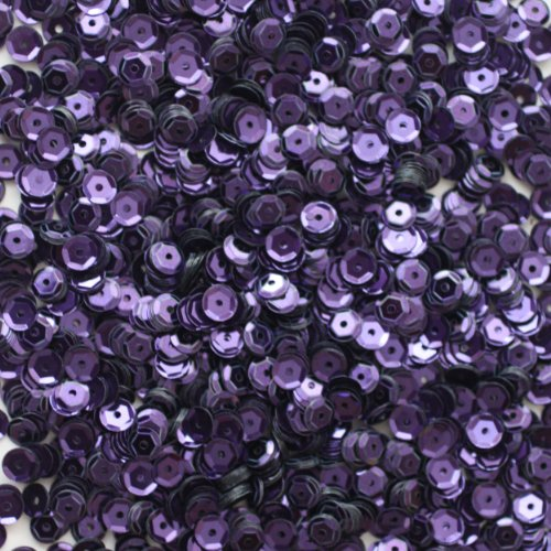 (5mm CUP SEQUINS ~ DEEP PURPLE Metallic ~ Loose paillette sequins for embroidery, applique, arts, crafts, bridal wear and embellishment. Made in USA)