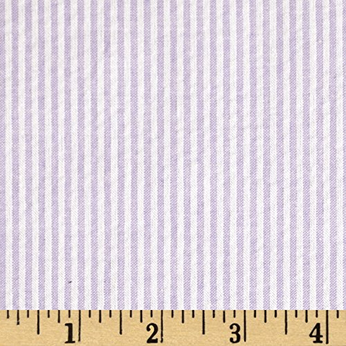 Richland Textiles Cotton Seersucker Stripe Fabric, Lavender/White, Fabric by the -