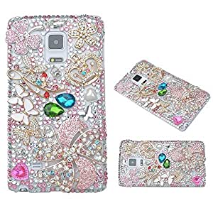 Evtech(tm) Pink Diamante Floral Blossom Five Leaves Flower Four Leaf Clover Colorful Butterfly Pearl Love Heart Shape Golden Crown Crystal Diamond Rhinestone Bling Bling Glitter Fashion Style Transparency Back Cover Cell Phone Case for Samsung Galaxy Note 5 (100% Handcrafted)
