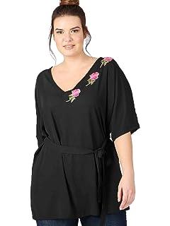 e362e770d57b6 Lovedrobe GB Women s Plus Size Black Kimono Batwing Floral Applique Blouse  with Tie Waist