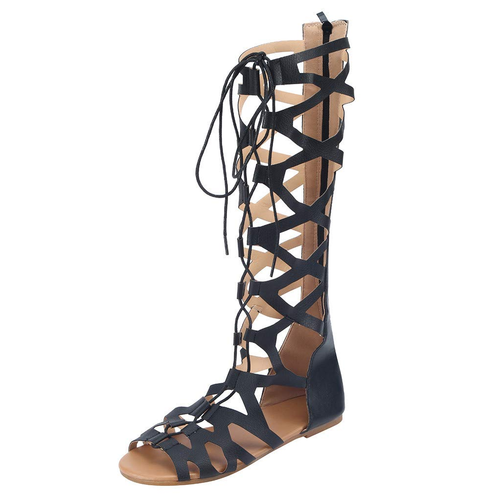 Women Gladiator Sandals, LONGDAY  Casual Flats Lace Up Shoes Open Toe Knee High Boots Hollow Roman Shoes Slippers Black